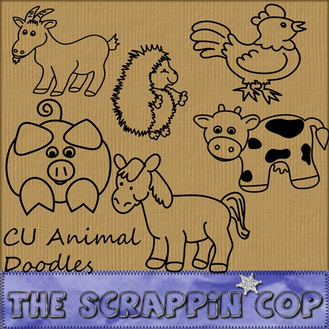 http://thescrappincop.blogspot.com/2009/04/cu-farm-animal-doodles.html