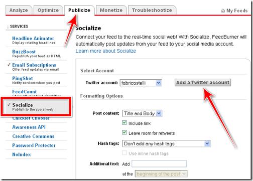 condividere automaticamente post twitter feedburner