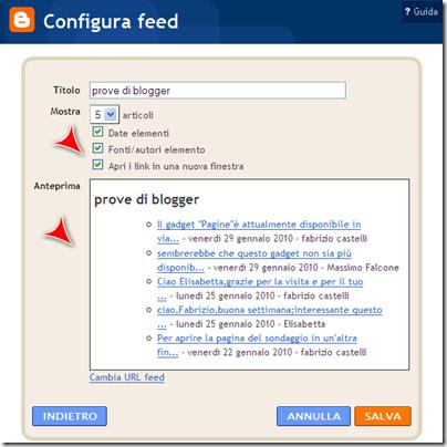 personalizzazione feed commenti