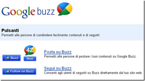 pulsanti condivisione Google Buzz