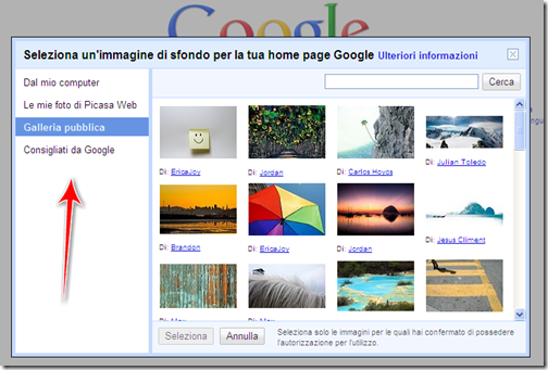 come mettere foto home page google