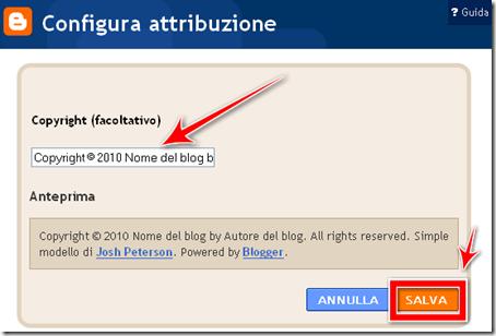 come mettere attribuzione copyright blogger