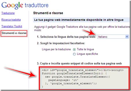 come mettere traduttore google automatico blogger wordpress