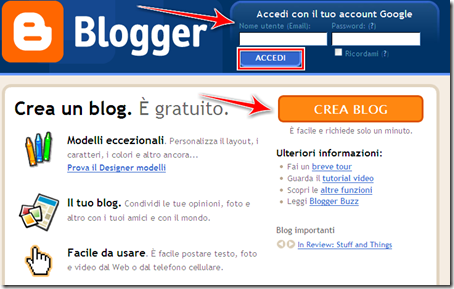 come creare blog gratuito blogger