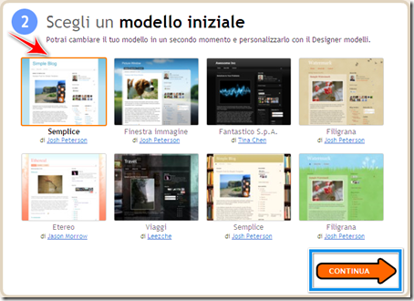 scegliere modello template blogger
