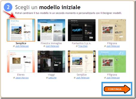 scegliere modello template blogger