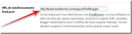 come reindirizzare feed blogger feedburner