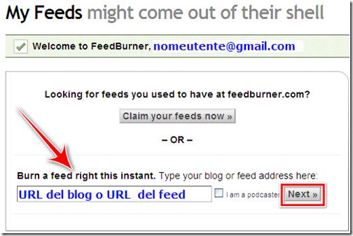come creare feed feedburner blog blogger