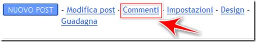 gestione commenti bacheca blog blogger