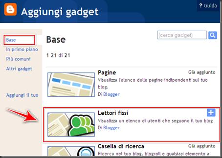 come aggiungere gadget lettori fissi blog blogger
