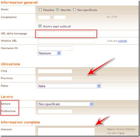 come inserire interessi lavoro url blog profilo blogger