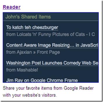 come mettere gadget elementi pubblici google reader blogger