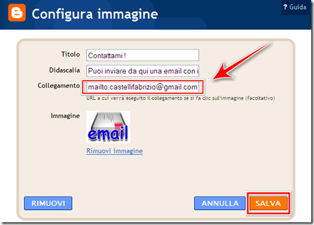 impostazione immagine email gadget blog blogger