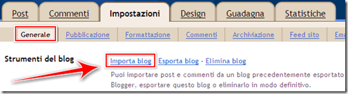 come importare trasferire post blog blogger