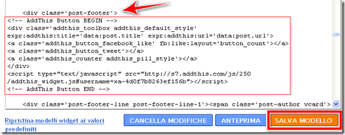 come mettere pulsante condivisione addthis facebook dentro post blog blogger