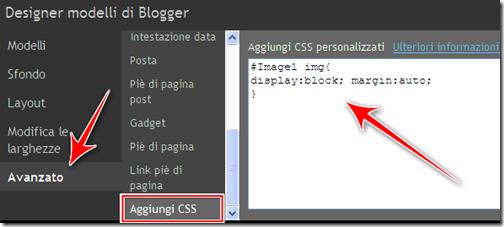 come centrare immagine gadget foto blog blogger