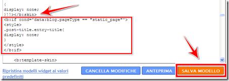 come non visualizzare titolo duplicato pagina statica blogger