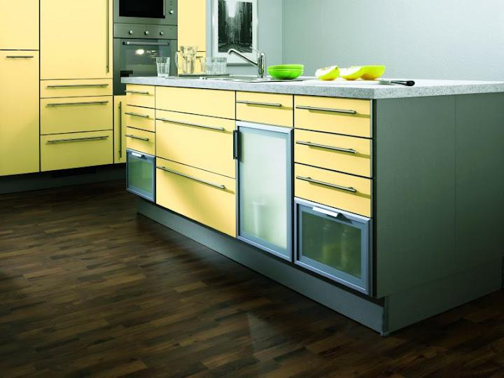 insel einbauk chefront arktisgelb mit alu magic kante. Black Bedroom Furniture Sets. Home Design Ideas