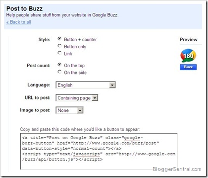 buzz button configure page