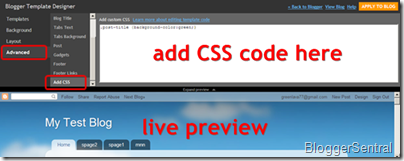 template designer add custom css