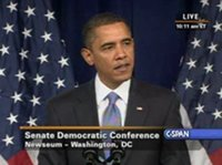 Obama addresses Democrats