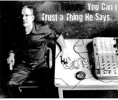 Photoshop of Stivers hooked up to lie detector