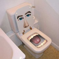 Toilet with human face