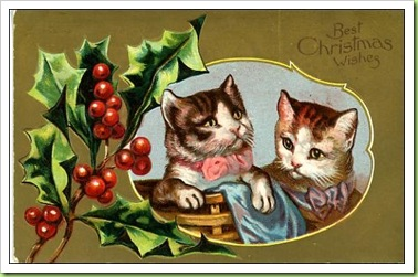 vintage-christmas-card-two-striped-brown-cats-holly