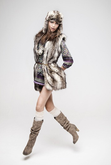 ·         Floral mix and max tunic £10 ·         Faux fur belted gillet £17 ·         Ribbed over the knee socks £1.50 ·         Knee-high zip boot £18