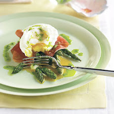 Poached Eggs with Roasted Asparagus, Prosciutto, and Chive Oil