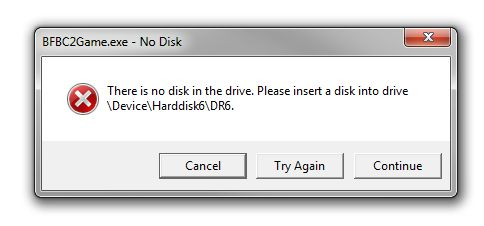 Bad Company 2: There is no disk in the drive crash with EA Digital