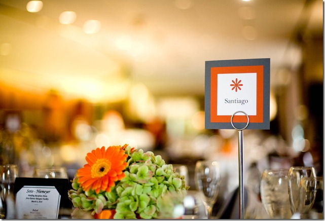 Grey and Tangerine Tablescape for Weddings