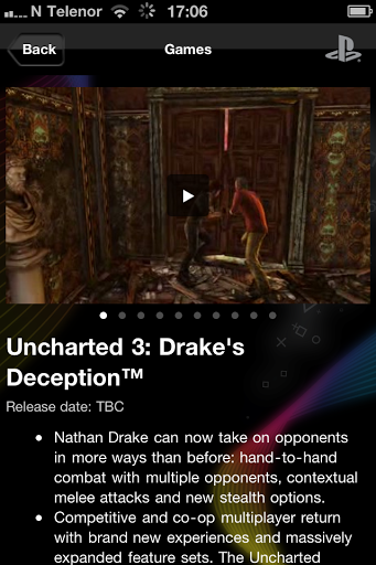 Info on Uncharted 3 in the App