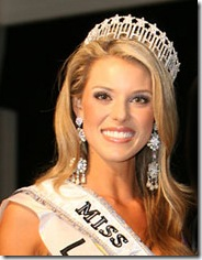 So Miss California got baited and reeled in at the Miss USA Pageant.