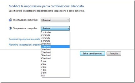 risparmio energia windows 7