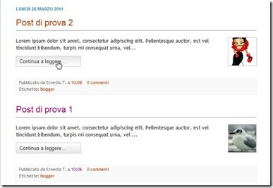 post di blogger in homepage