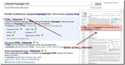 quick scroll preview google ricerca
