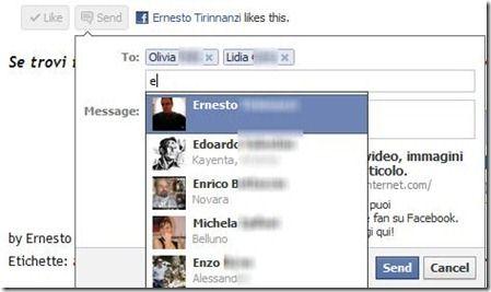 inviare post agli amici su facebook