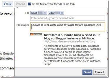 messaggio invia facebook plugin send