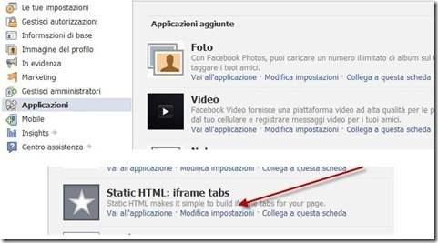 static html iframe tabs modifica impostazioni