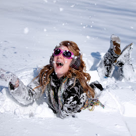 Playing in the snow by Dale Frazier - People Street & Candids ( snowfall, after school, natural lighting, funny, snowball, happiness, fun, snowing, happy, snow, snow day, dale frazier photography, natural, conceptual,  )