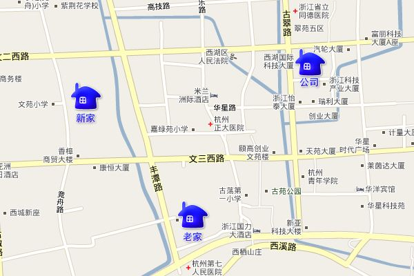 万万、老包、娟姐、李总在杭州竞舟路房子的地图