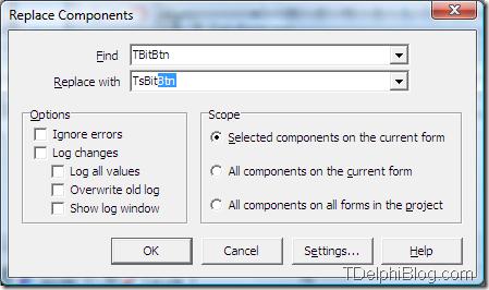 Диалог замены типа компонента в gExperts
