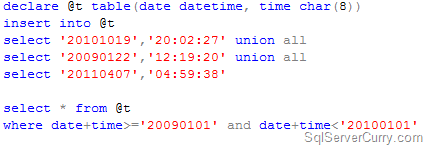 store datetime sql
