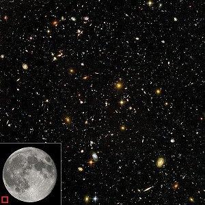 Galaxias visibles en un área igual a la del pequeño cuadrado ubicado en la esquina inferior izquierda, mucho menor que la Luna.