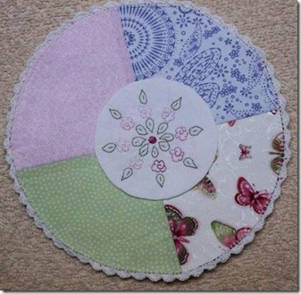 Crocheted edge doily of Dawns
