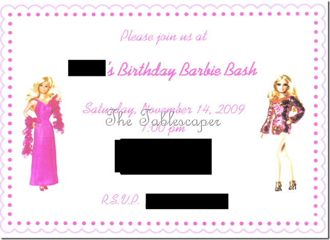 Invite Barbie Party