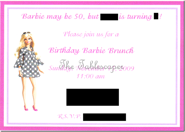 Invite Barbie Party 2