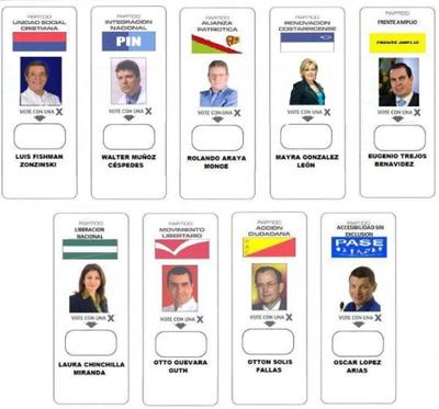 Cédula de Votação Costa Rica 2010