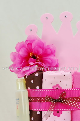 Pink Flower Hair Clip on Diaper Cake